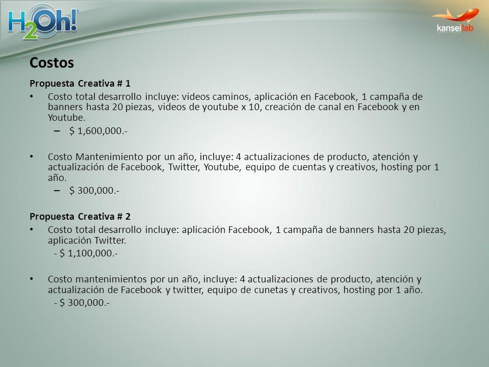 Propuesta Creativa # 1 Costo total desarrollo incluye: videos caminos, aplicación en Facebook, 1 campaña de banners hasta 20 piezas, videos de youtube