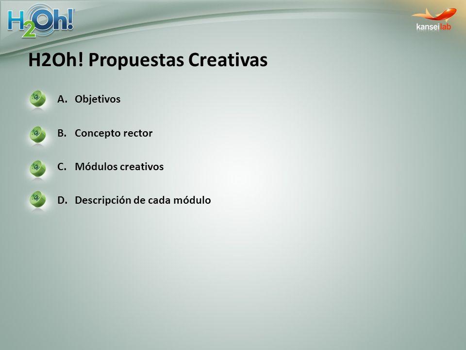 B) Módulos Creativos y descripción Website En la entrada al sitio se ven las presentaciones de H2OH!, se escoge la que se prefiera, y al hacerlo se activa una animación con la que te sumerges en el líquido.