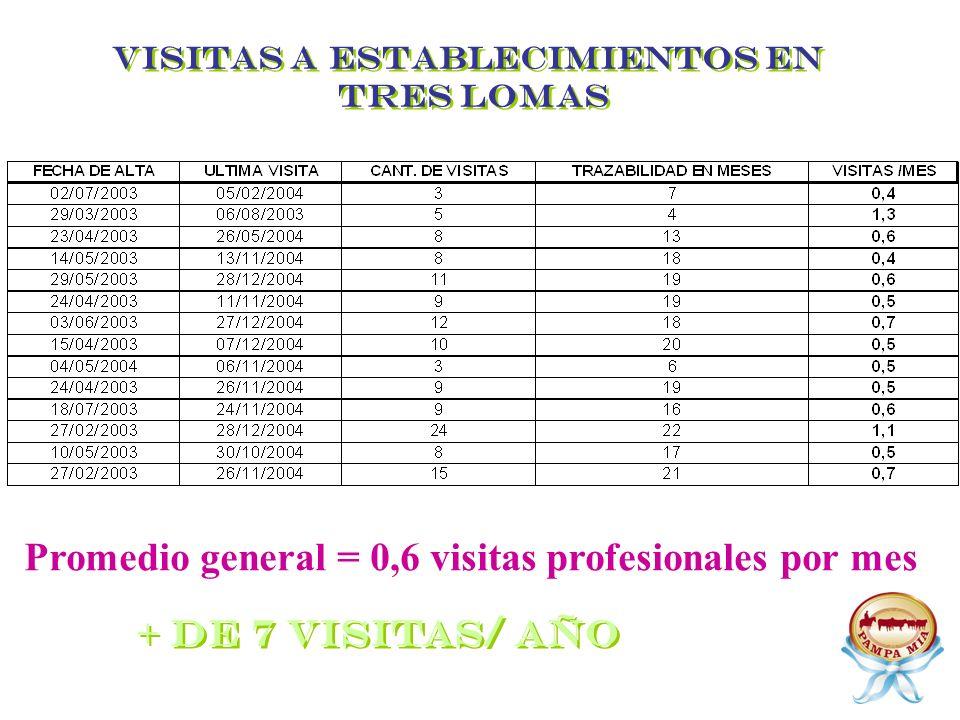 VISITAS A ESTABLECIMIENTOS EN TRES LOMAS Promedio general = 0,6 visitas profesionales por mes + de 7 visitas/ año