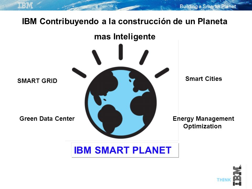 Building a Smarter Planet IBM Contribuyendo a la construcción de un Planeta mas Inteligente IBM SMART PLANET SMART GRID Green Data Center Smart Cities