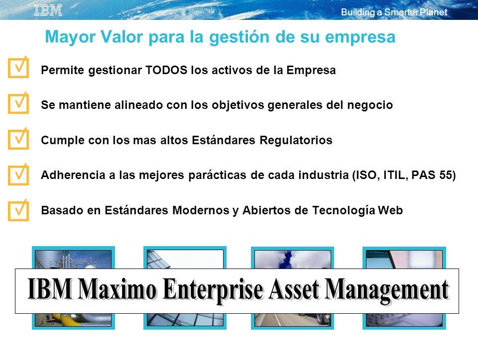 Building a Smarter Planet Mayor Valor para la gestión de su empresa Permite gestionar TODOS los activos de la Empresa Se mantiene alineado con los obj