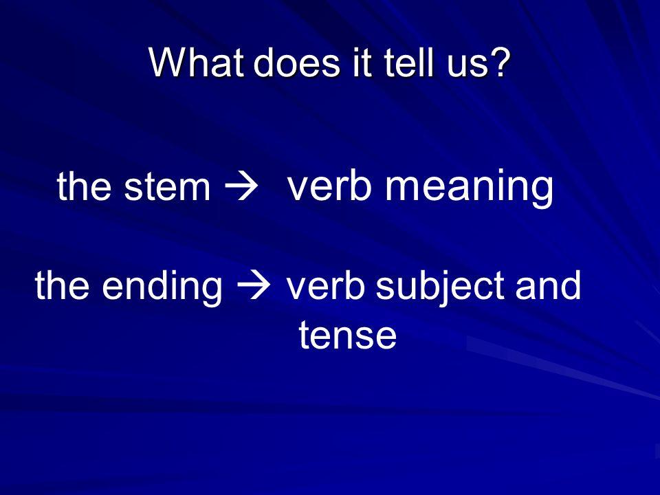 All verbs have two parts: Stem + Ending hablar habl(ar) preparar prepar(ar) practicar practic (ar) usar us (ar)