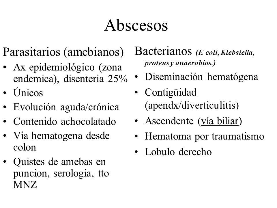 Parasitarios (amebianos) Ax epidemiológico (zona endemica), disenteria 25% Únicos Evolución aguda/crónica Contenido achocolatado Via hematogena desde