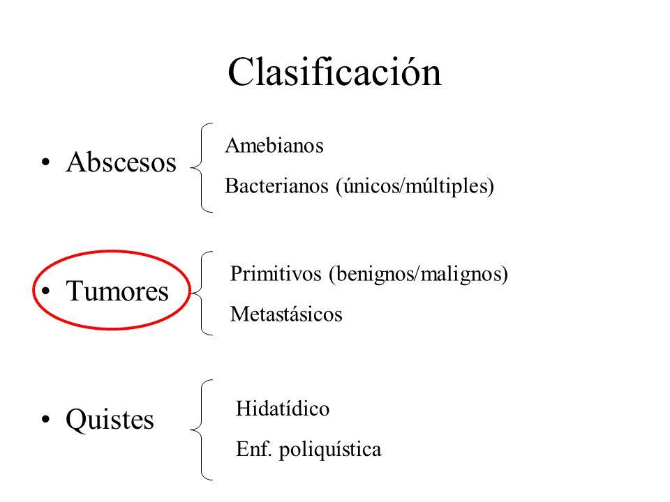 Clasificación Abscesos Tumores Quistes Amebianos Bacterianos (únicos/múltiples) Primitivos (benignos/malignos) Metastásicos Hidatídico Enf. poliquísti