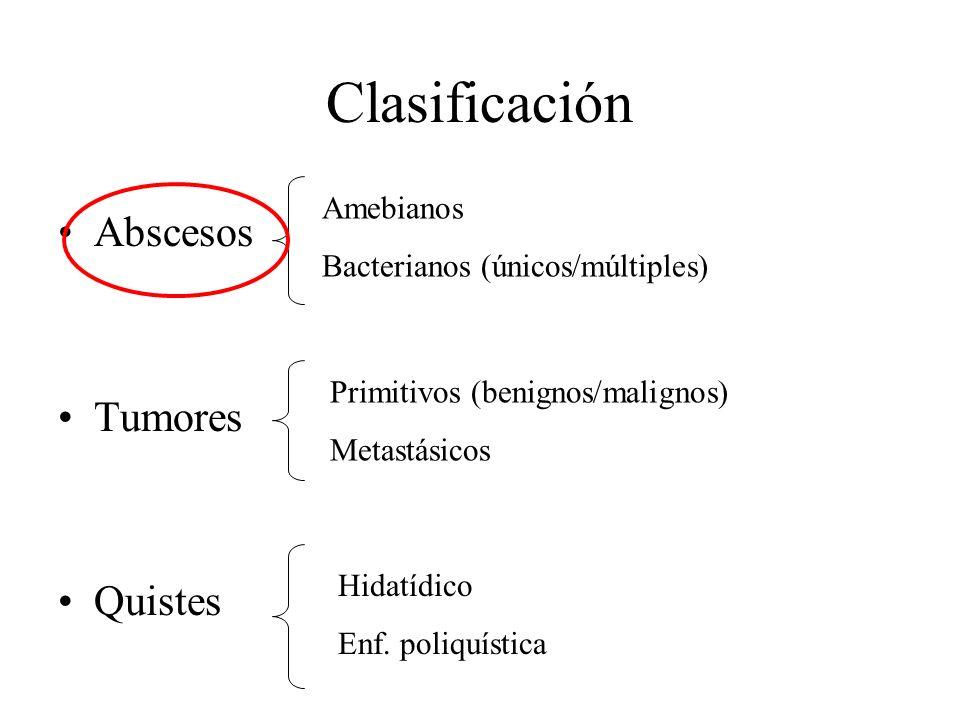 Parasitarios (amebianos) Ax epidemiológico (zona endemica), disenteria 25% Únicos Evolución aguda/crónica Contenido achocolatado Via hematogena desde colon Quistes de amebas en puncion, serologia, tto MNZ Abscesos Bacterianos (E coli, Klebsiella, proteus y anaerobios.) Diseminación hematógena Contigüidad (apendx/diverticulitis) Ascendente (vía biliar) Hematoma por traumatismo Lobulo derecho
