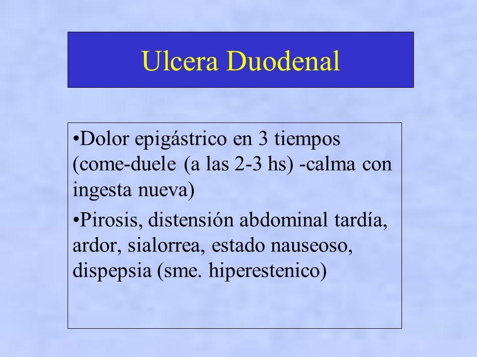 Ulcera Duodenal Dolor epigástrico en 3 tiempos (come-duele (a las 2-3 hs) -calma con ingesta nueva) Pirosis, distensión abdominal tardía, ardor, sialorrea, estado nauseoso, dispepsia (sme.