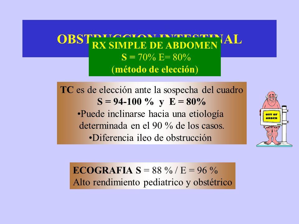 OBSTRUCCION INTESTINAL TC es de elección ante la sospecha del cuadro S = 94-100 % y E = 80% Puede inclinarse hacia una etiología determinada en el 90 % de los casos.