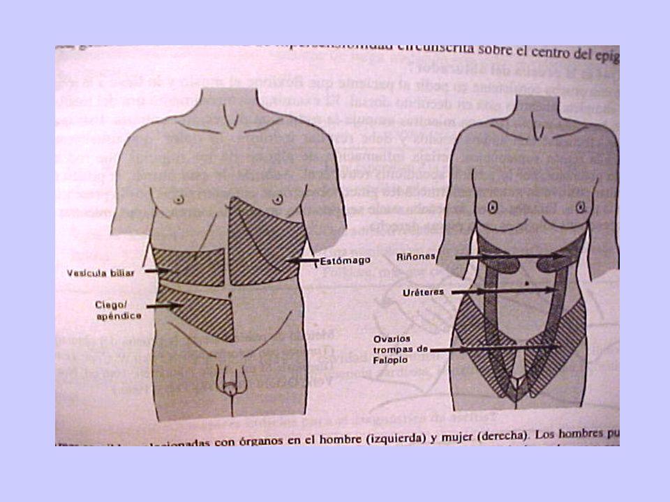 DOLOR ABDOMINAL AGUDO RX SIMPLE Pocas situaciones tienen hallazgos radiológicos específicos: Perforación de víscera hueca (l/2 o 1/3 tiene Aire libre) Obstrucción intestinal Cólico renal: utilidad limitada Apendicitis aguda y colecistitis: no está indicado