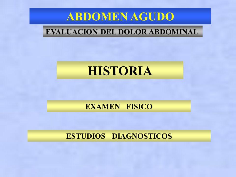 ABDOMEN AGUDO Patología 50 años Colecistitis 6 %21 % Inespecífico 40 %16 % Apendicitis 32 %15 % Obstrucción intestinal 2 %12 % Pancreatitis 2 % 7 % En