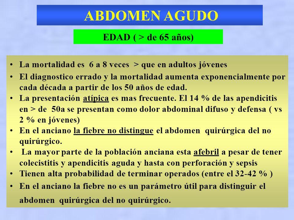 ABDOMEN AGUDO EDAD ( > de 65 años) Pensar en la patología vascular: 1.Infarto agudo de miocardio (dolor epigastrico) 2.Aneurisma de aorta abdominal (A