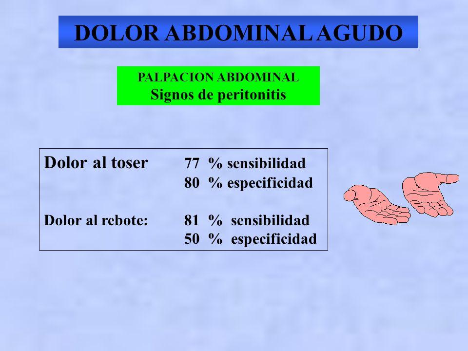 DOLOR ABDOMINAL AGUDO PALPACION ABDOMINAL Signo de Murphy en la Colecistitis Aguda 97 % sensibilidad 50 % especificidad Signo del Psoas : apendicitis