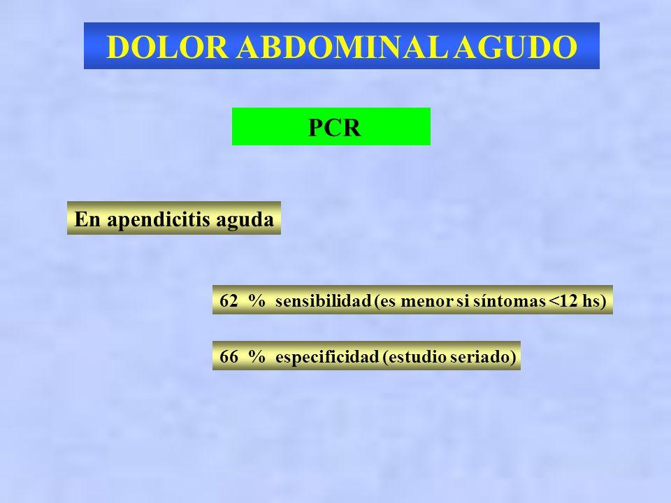 DOLOR ABDOMINAL AGUDO ESTUDIOS DIAGNOSTICOS HEMOGRAMA Recuento de glóbulos blancos demostró fallar en discriminar el abdomen quirúrgico del no quirúrg