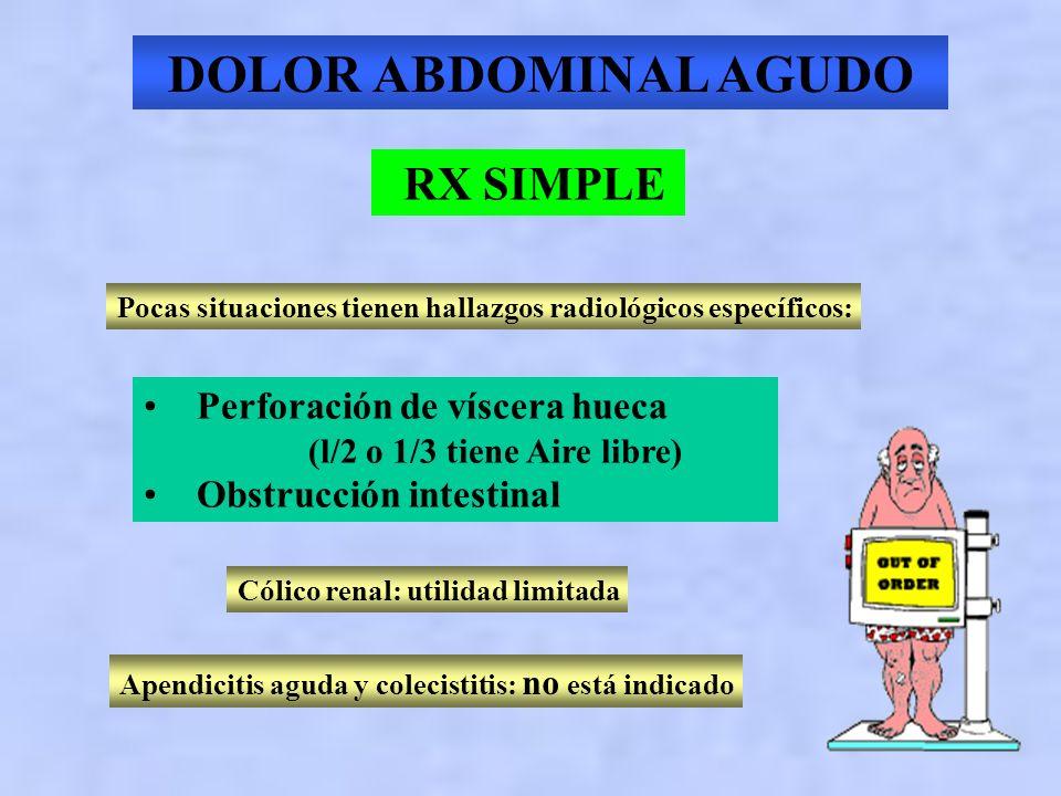 DOLOR ABDOMINAL AGUDO RX SIMPLE No sugiere diagnósticos no sospechados No excluye una enfermedad quirúrgica 40 % de los hallazgos positivos son incons