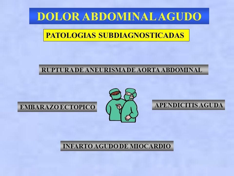 DOLOR ABDOMINAL AGUDO PUNTOS IMPORTANTES EVALUACION DEL DOLOR ABDOMINAL DOLOR ABDOMINAL INESPECIFICO PACIENTES DE ALTO RIESGO PATOLOGIAS SUBDIAGNOSTIC