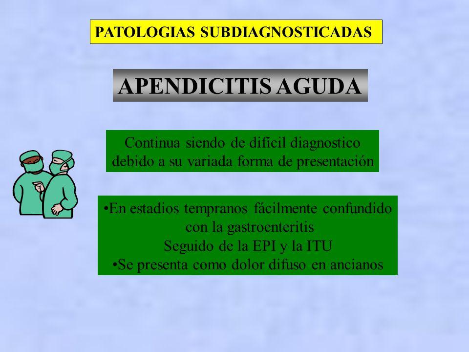 PATOLOGIAS SUBDIAGNOSTICADAS EMBARAZO ECTOPICO Es errado a partir de la base de no considerar embarazada a la paciente El dosaje hCG es altamente sens