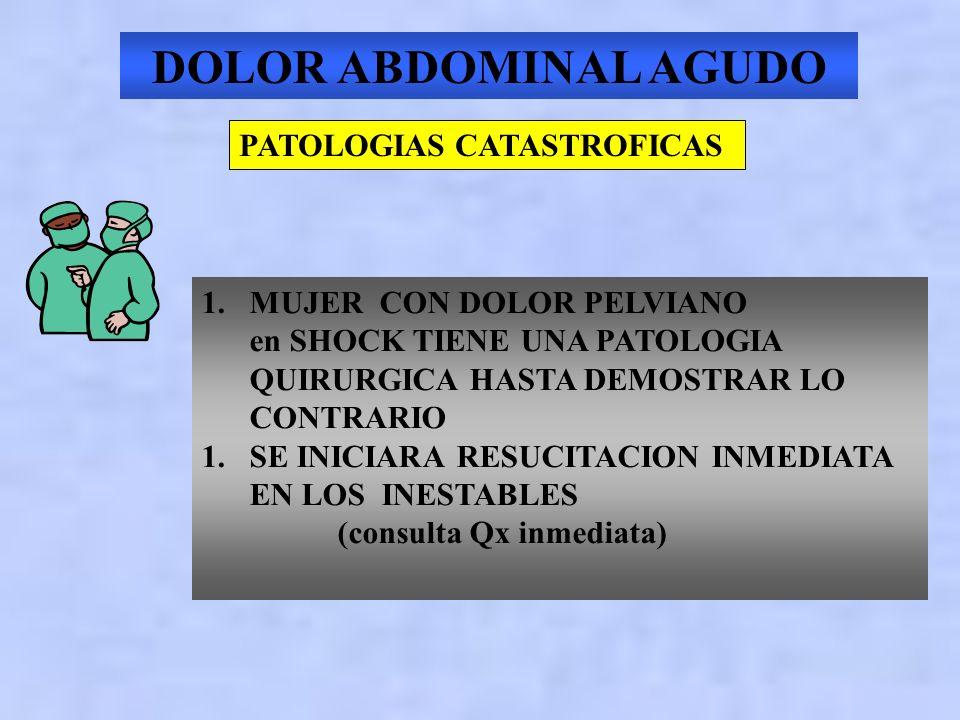 ABDOMEN AGUDO PATOLOGIAS CATASTROFICAS 1.RUPTURA DE ANEURISMA DE AORTA ABDOMINAL 2.PANCREATITIS AGUDA 3.OCLUSION INTESTINAL 4.ISQUEMIA MESENTERICA 5.E