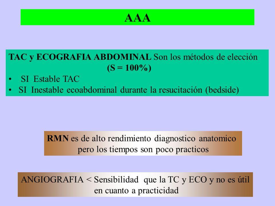 OBSTRUCCION INTESTINAL TC es de elección ante la sospecha del cuadro S = 94-100 % y E = 80% Puede inclinarse hacia una etiología determinada en el 90