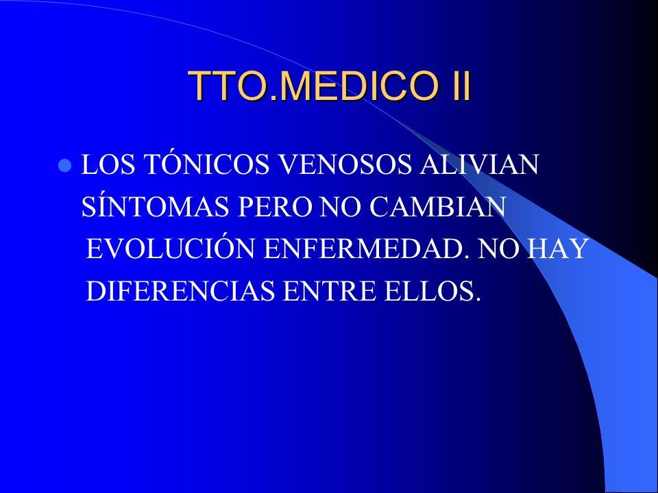 TTO.MEDICO II LOS TÓNICOS VENOSOS ALIVIAN SÍNTOMAS PERO NO CAMBIAN EVOLUCIÓN ENFERMEDAD. NO HAY DIFERENCIAS ENTRE ELLOS.