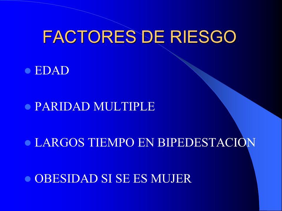 FACTORES DE RIESGO EDAD PARIDAD MULTIPLE LARGOS TIEMPO EN BIPEDESTACION OBESIDAD SI SE ES MUJER