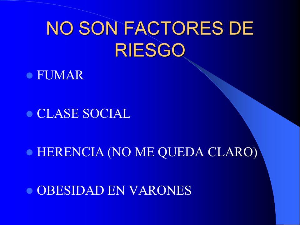 NO SON FACTORES DE RIESGO FUMAR CLASE SOCIAL HERENCIA (NO ME QUEDA CLARO) OBESIDAD EN VARONES