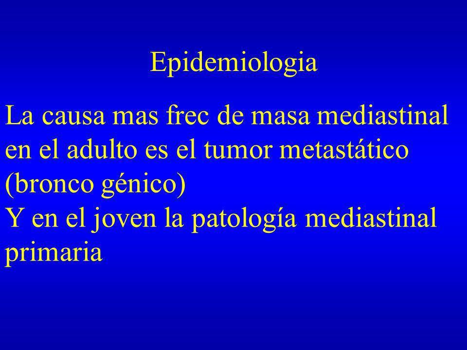 Epidemiologia La causa mas frec de masa mediastinal en el adulto es el tumor metastático (bronco génico) Y en el joven la patología mediastinal primar