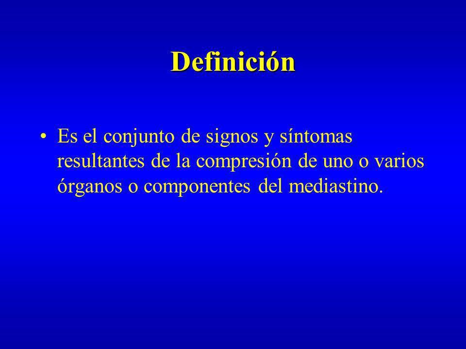 Definición Es el conjunto de signos y síntomas resultantes de la compresión de uno o varios órganos o componentes del mediastino.