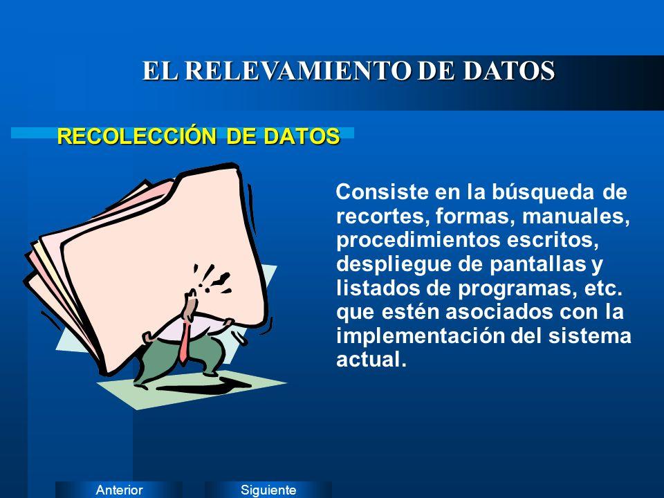 SiguienteAnterior EL RELEVAMIENTO DE DATOS Consiste en la búsqueda de informaciones o experiencias en sociedades de profesionales, revistas o libros técnicos, etc.