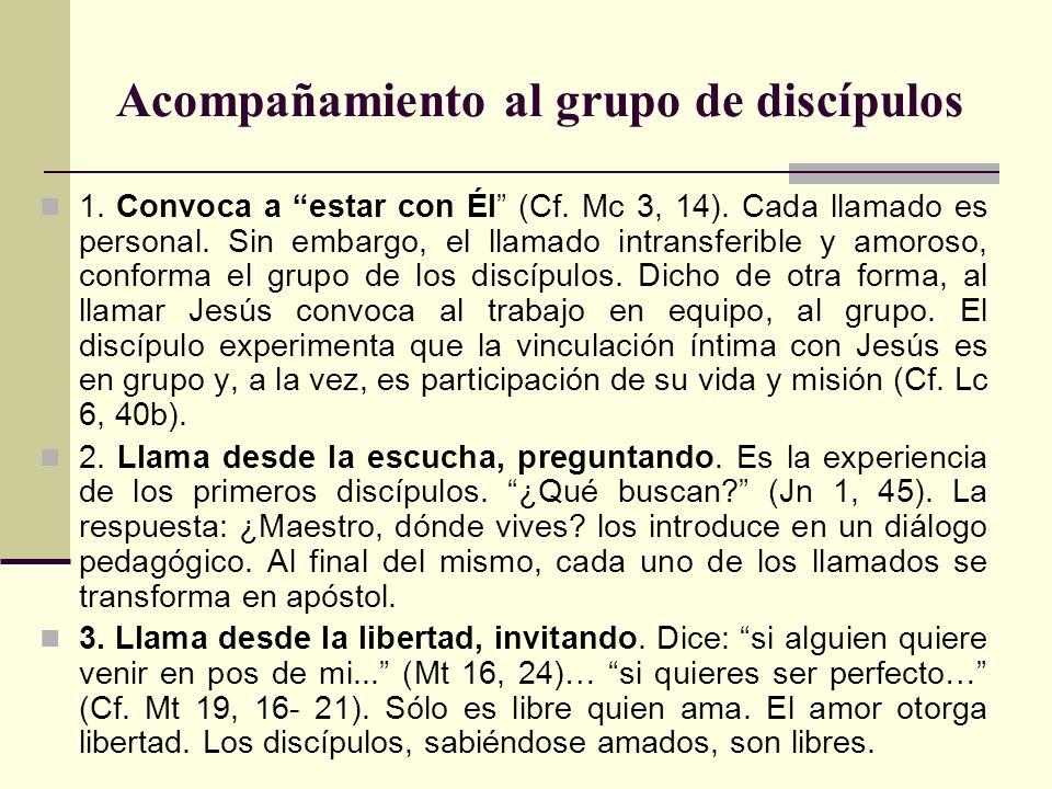 Acompañamiento al grupo de discípulos 1. Convoca a estar con Él (Cf. Mc 3, 14). Cada llamado es personal. Sin embargo, el llamado intransferible y amo