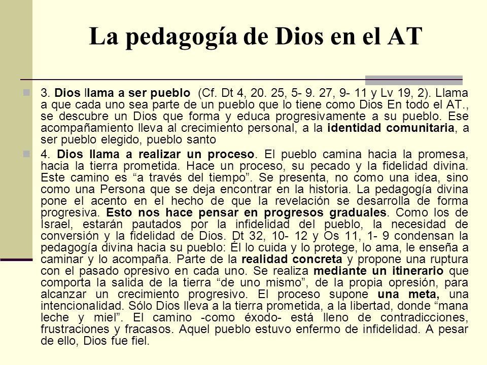 La pedagogía de Dios en el AT 3. Dios llama a ser pueblo (Cf. Dt 4, 20. 25, 5- 9. 27, 9- 11 y Lv 19, 2). Llama a que cada uno sea parte de un pueblo q