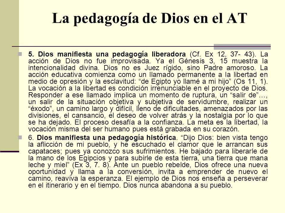 La pedagogía de Dios en el AT 5. Dios manifiesta una pedagogía liberadora (Cf. Ex 12, 37- 43). La acción de Dios no fue improvisada. Ya el Génesis 3,