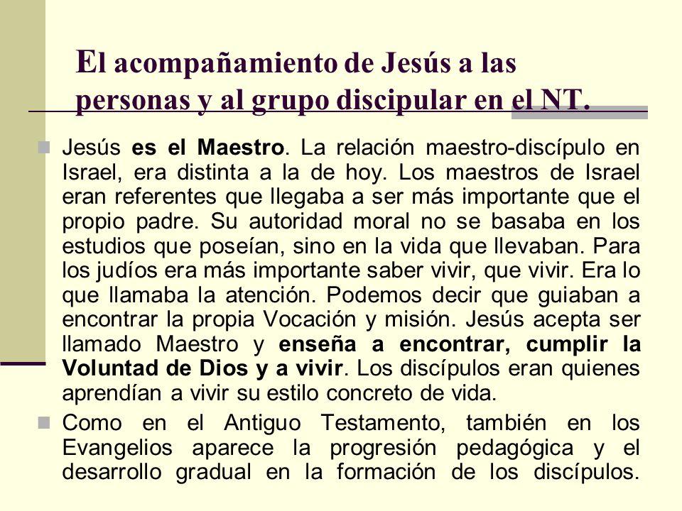 E l acompañamiento de Jesús a las personas y al grupo discipular en el NT. Jesús es el Maestro. La relación maestro-discípulo en Israel, era distinta