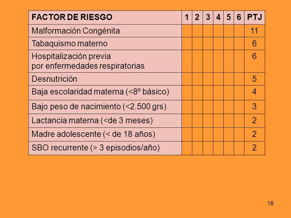 16 FACTOR DE RIESGO123456PTJ Malformación Congénita11 Tabaquismo materno6 Hospitalización previa por enfermedades respiratorias 6 Desnutrición5 Baja e