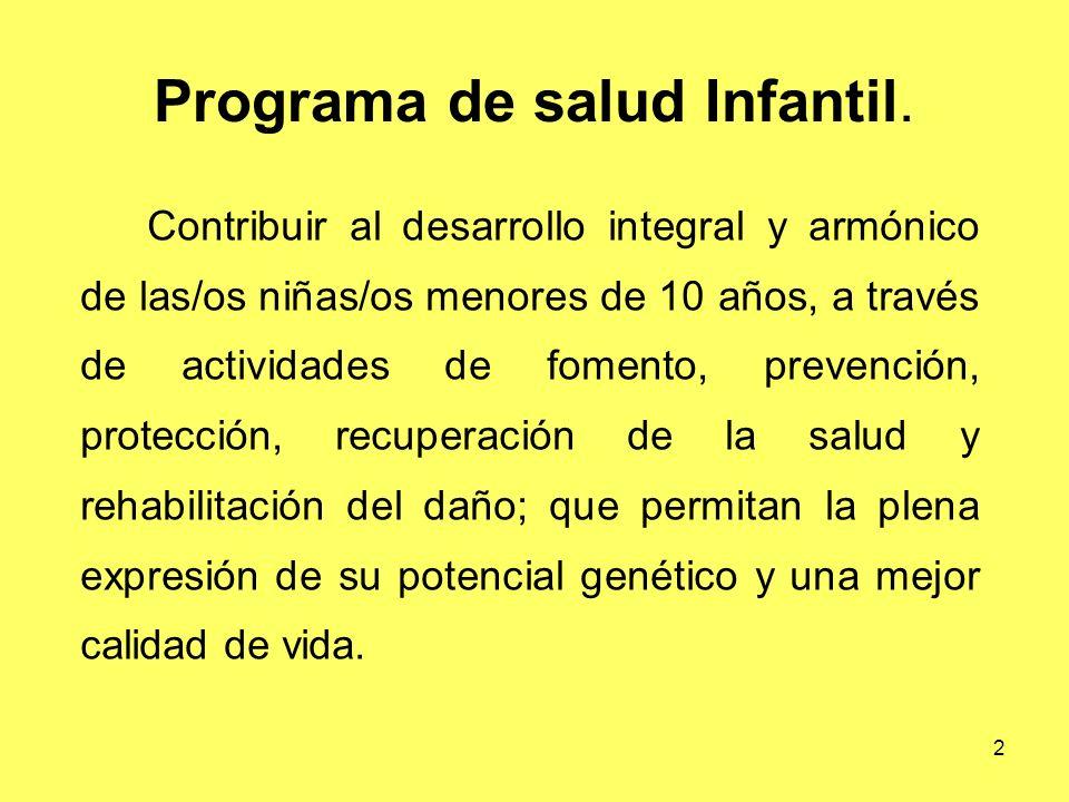 2 Programa de salud Infantil. Contribuir al desarrollo integral y armónico de las/os niñas/os menores de 10 años, a través de actividades de fomento,