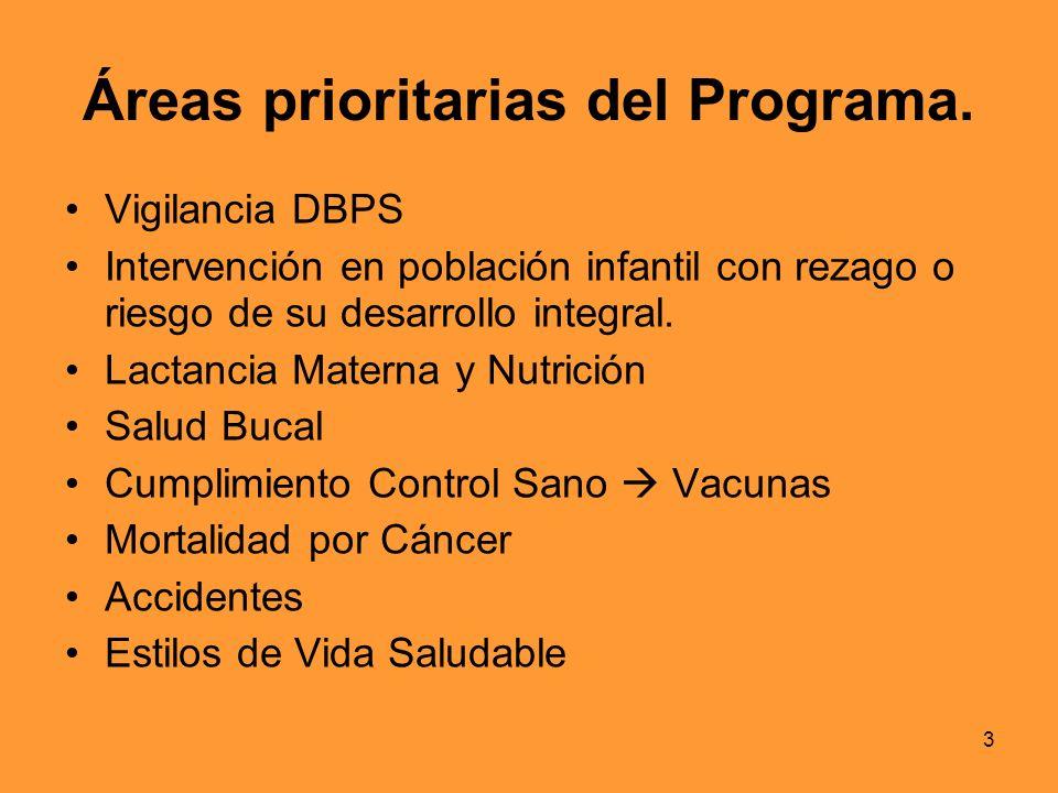 3 Áreas prioritarias del Programa. Vigilancia DBPS Intervención en población infantil con rezago o riesgo de su desarrollo integral. Lactancia Materna