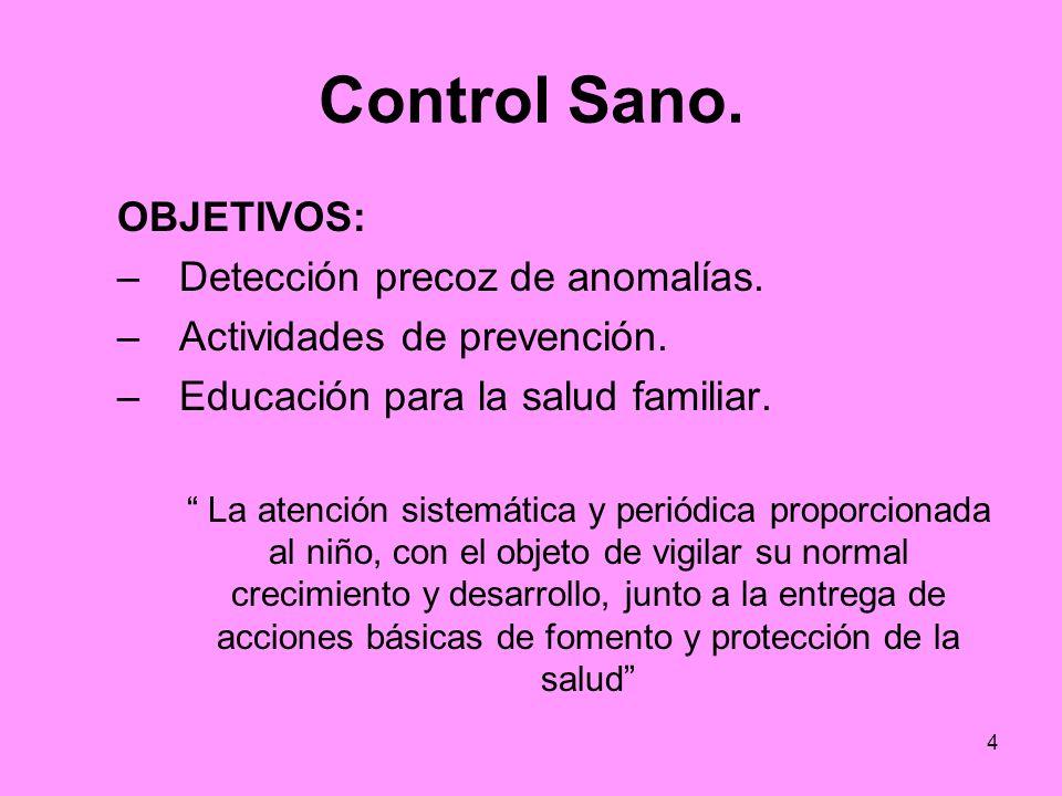 4 Control Sano. OBJETIVOS: –Detección precoz de anomalías. –Actividades de prevención. –Educación para la salud familiar. La atención sistemática y pe