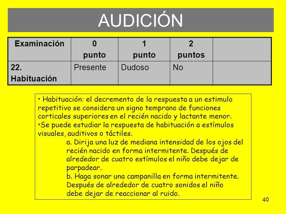 40 AUDICIÓN Examinación0 punto 1 punto 2 puntos 22. Habituación PresenteDudosoNo Habituación: el decremento de la respuesta a un estimulo repetitivo s