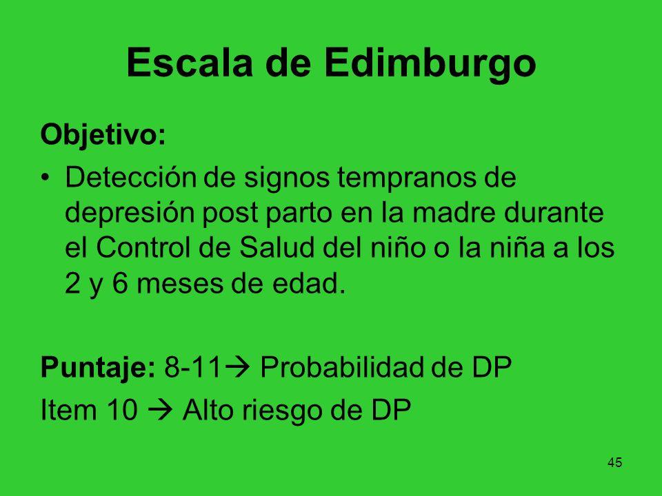 45 Escala de Edimburgo Objetivo: Detección de signos tempranos de depresión post parto en la madre durante el Control de Salud del niño o la niña a lo
