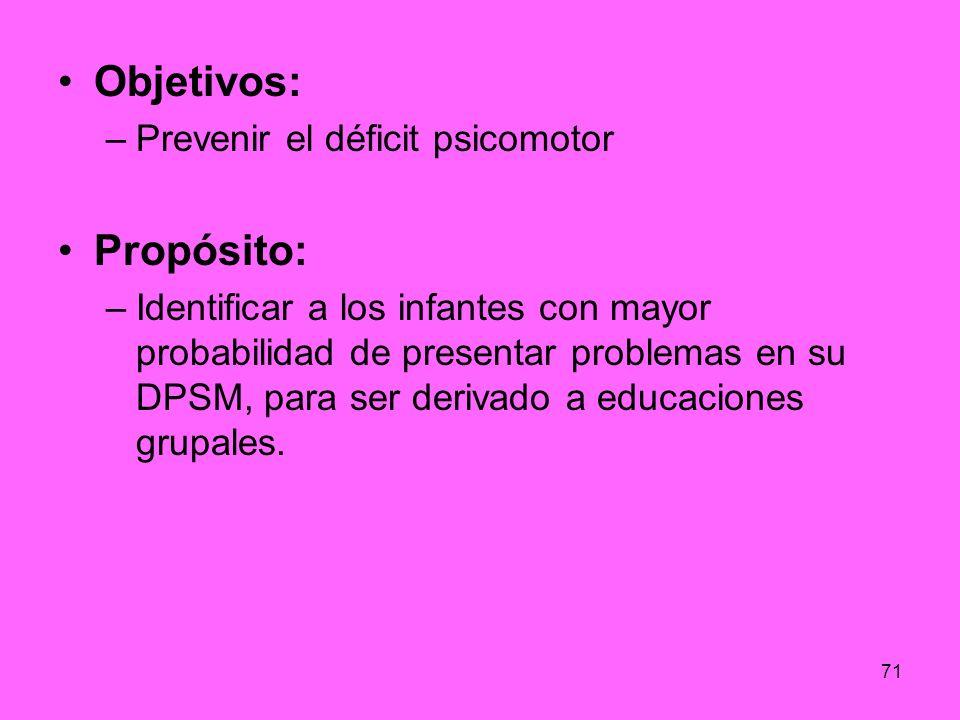 71 Objetivos: –Prevenir el déficit psicomotor Propósito: –Identificar a los infantes con mayor probabilidad de presentar problemas en su DPSM, para se