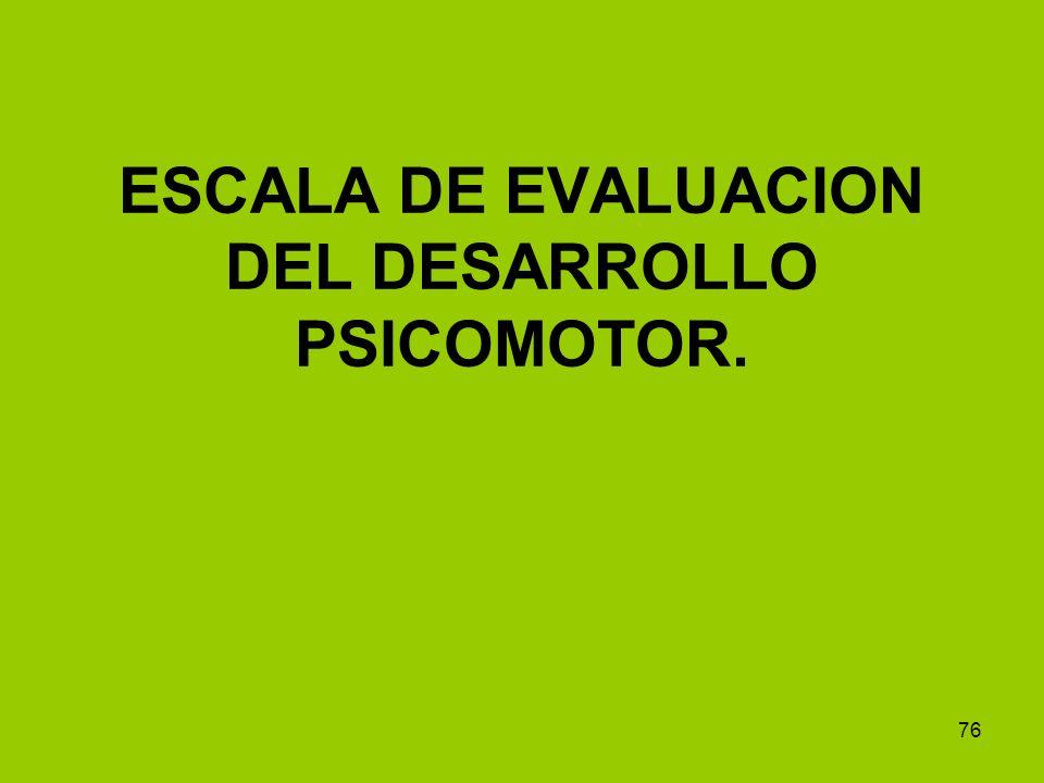 76 ESCALA DE EVALUACION DEL DESARROLLO PSICOMOTOR.