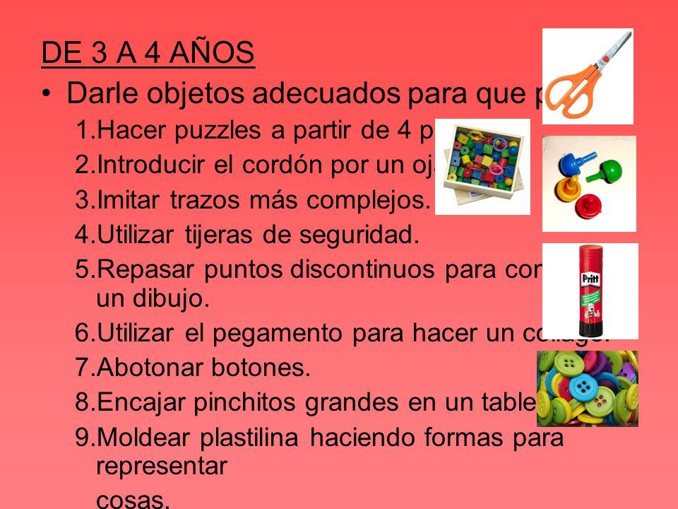 EJERCICIO 1 Hacer puzzles a partir de 4 piezas Le podremos dar puzzles de 4-6 piezas para que los complete.