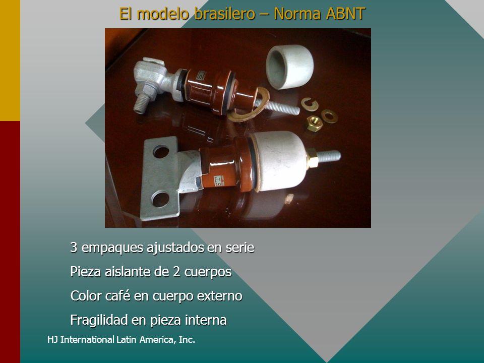 HJ International Latin America, Inc. El modelo brasilero – Norma ABNT 3 empaques ajustados en serie Color café en cuerpo externo Pieza aislante de 2 c