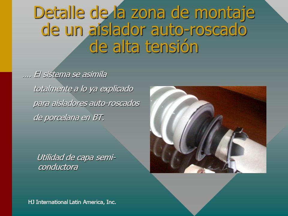 HJ International Latin America, Inc. Detalle de la zona de montaje de un aislador auto-roscado de alta tensión …. El sistema se asimila totalmente a l
