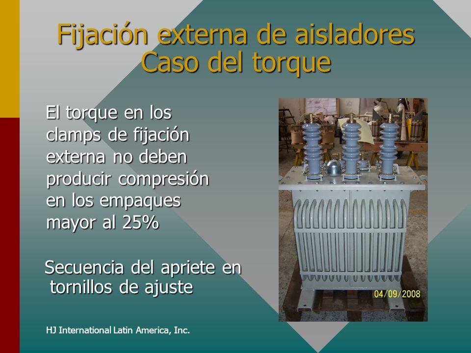HJ International Latin America, Inc. Fijación externa de aisladores Caso del torque El torque en los clamps de fijación externa no deben producir comp