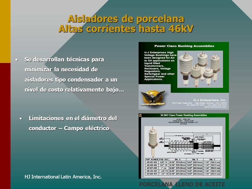 HJ International Latin America, Inc. Aisladores de porcelana Altas corrientes hasta 46kV Se desarrollan técnicas para minimizar la necesidad de aislad