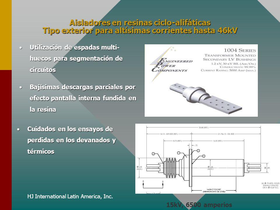 HJ International Latin America, Inc. Aisladores en resinas ciclo-alifáticas Tipo exterior para altísimas corrientes hasta 46kV Utilización de espadas