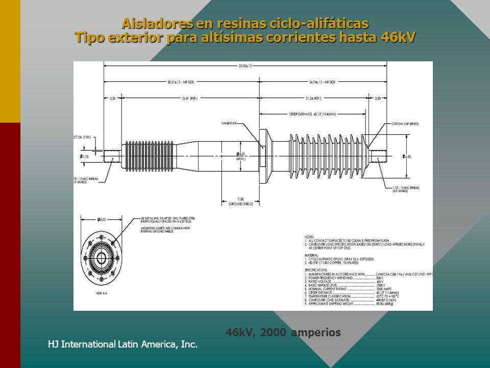 HJ International Latin America, Inc. Aisladores en resinas ciclo-alifáticas Tipo exterior para altísimas corrientes hasta 46kV 46kV, 2000 amperios