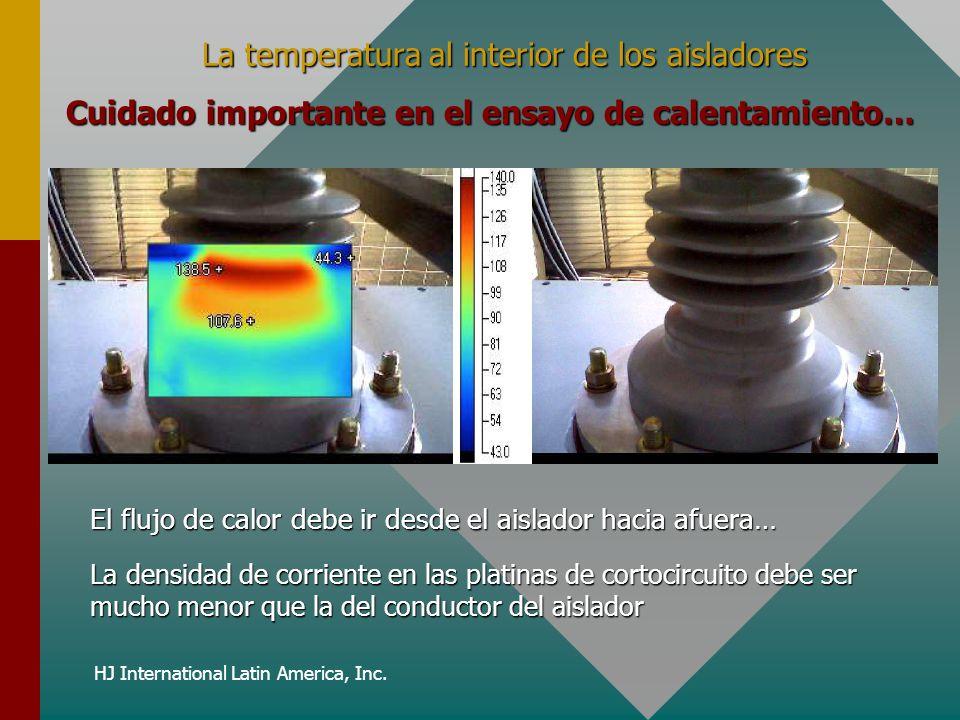 HJ International Latin America, Inc. La temperatura al interior de los aisladores Cuidado importante en el ensayo de calentamiento… El flujo de calor