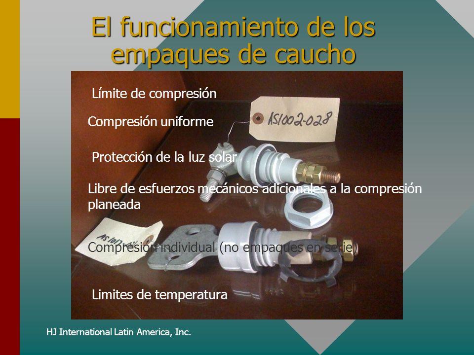HJ International Latin America, Inc. El funcionamiento de los empaques de caucho Límite de compresión Compresión uniforme Protección de la luz solar L