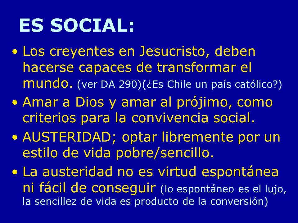ES SOCIAL: Los creyentes en Jesucristo, deben hacerse capaces de transformar el mundo. (ver DA 290)(¿Es Chile un país católico?) Amar a Dios y amar al