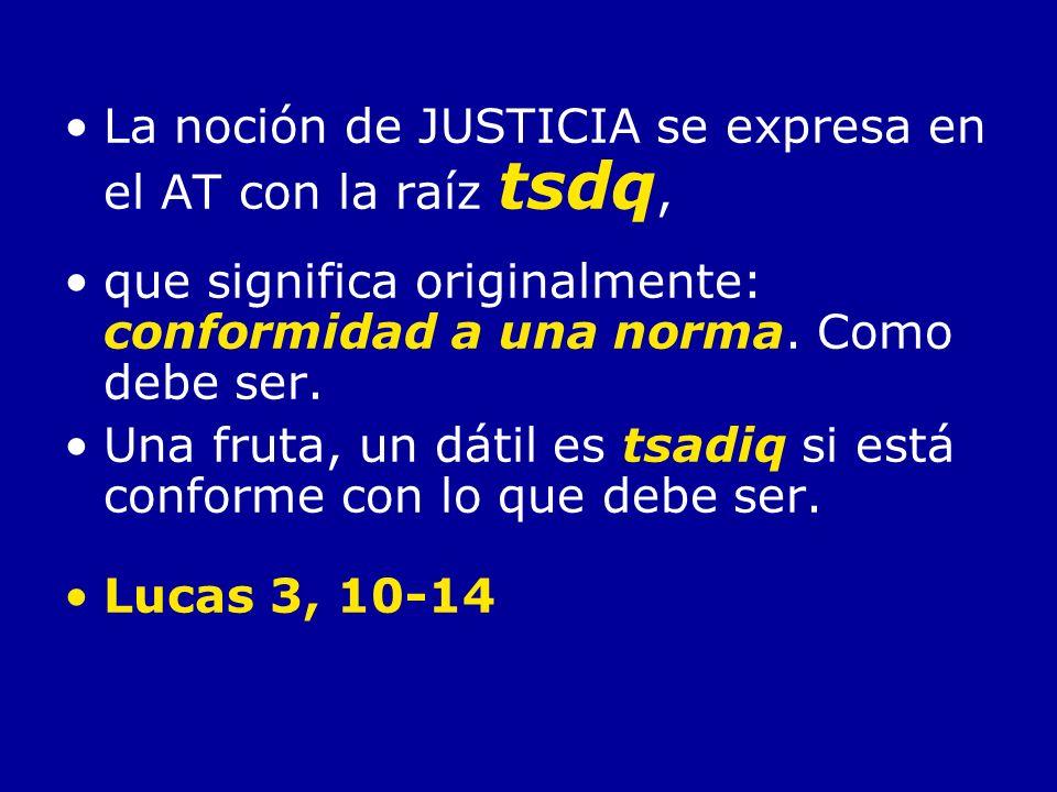 La noción de JUSTICIA se expresa en el AT con la raíz tsdq, que significa originalmente: conformidad a una norma. Como debe ser. Una fruta, un dátil e